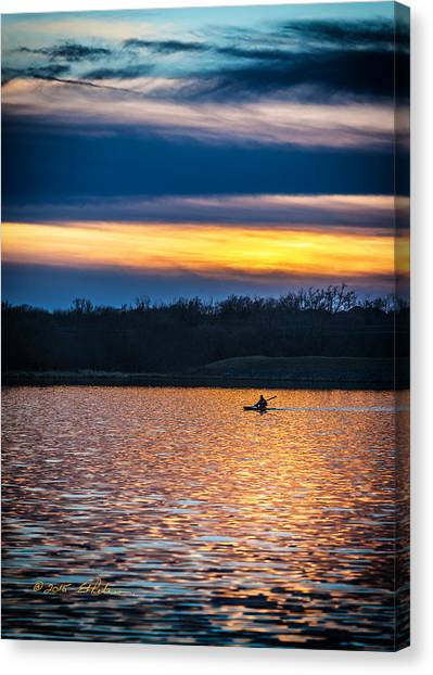 Canvas Print featuring the photograph Kayak Sunset by Edward Peterson