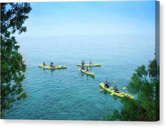 Limestone Caves Canvas Print - Kayaking At Cave Point by Art Spectrum
