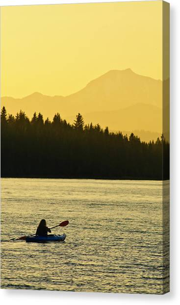 Kayaking Lake Almanor Canvas Print