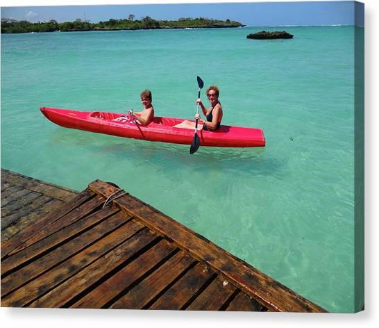 Exploramum Canvas Print - Kayaking Perfection 1 by Exploramum Exploramum