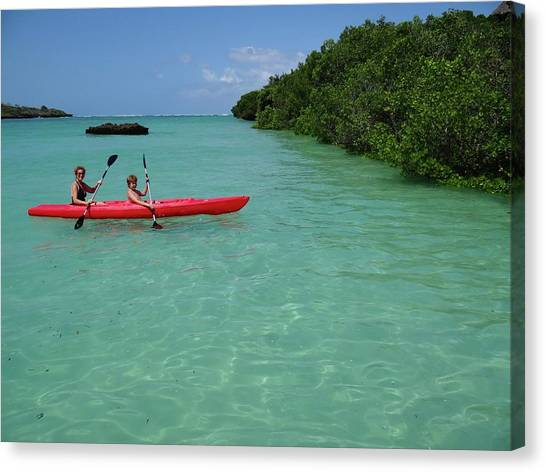 Exploramum Canvas Print - Kayaking Perfection 2 by Exploramum Exploramum