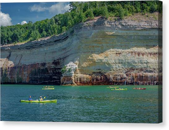 Kayaking The Pictured Rocks Canvas Print
