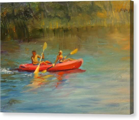 Kayaking Watercolor Lake Canvas Print by Jill Holt