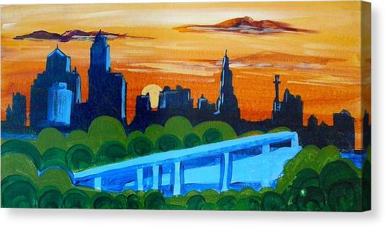 Kc Skyline At Sunset Canvas Print