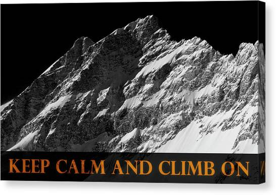 Mount Everest Canvas Print - Keep Calm And Climb On by Frank Tschakert