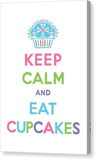 Cupcake Canvas Print - Keep Calm And Eat Cupcakes - Multi Pastel by Andi Bird