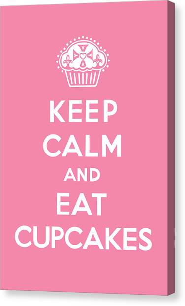 Cupcake Canvas Print - Keep Calm And Eat Cupcakes - Pink by Andi Bird