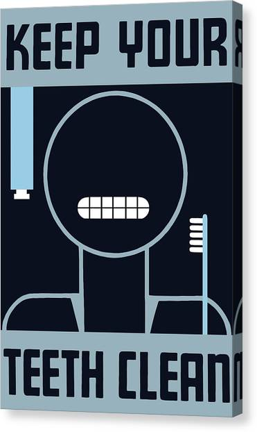 Toothbrush Canvas Print - Keep Your Teeth Clean - Wpa by War Is Hell Store
