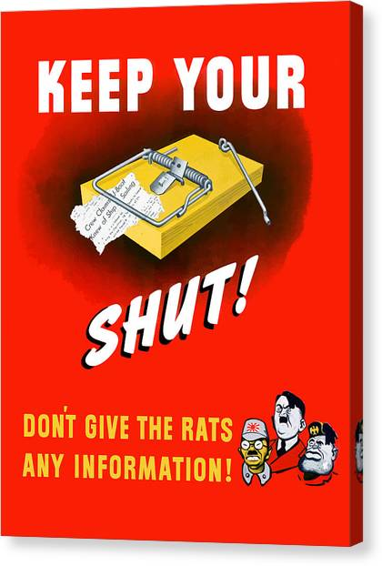 Mice Canvas Print - Keep Your Trap Shut -- Ww2 Propaganda by War Is Hell Store