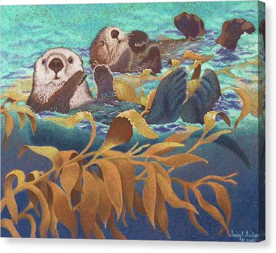 Otters Canvas Print - Keepers Of The Kelp by Tracy L Teeter