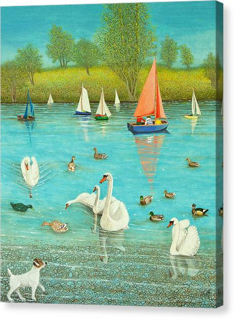 Dinghy Canvas Print - Keeping A Watchful Eye by Pat Scott