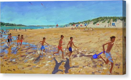 Wells Beach Canvas Print - Keeping Fit, Wells Next To The Sea  by Andrew Macara