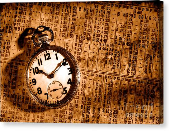 Train Conductor Canvas Print - Keeping The Railroad On Time - Sepia by Olivier Le Queinec