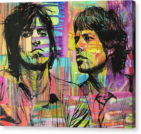 Rolling Stones Canvas Print - Keith And Mick Sway by Dean Russo Art