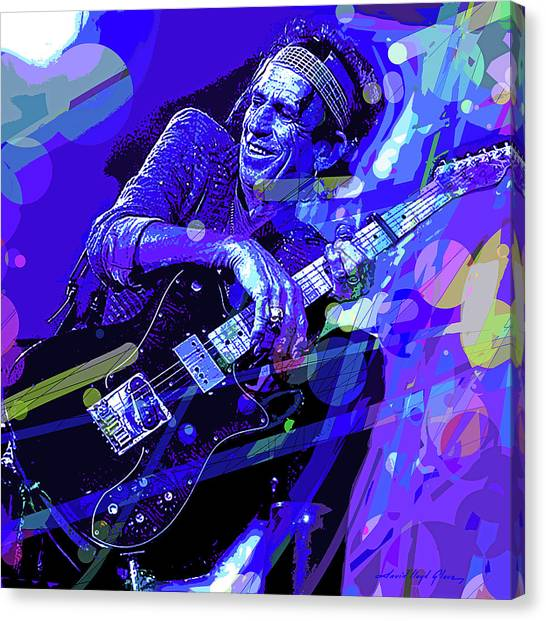 Rolling Stones Canvas Print - Keith Richards Blue by David Lloyd Glover