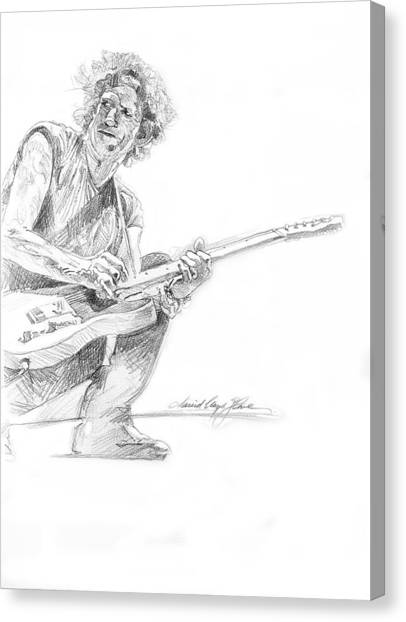 Keith Richards Canvas Print - Keith Richards  Fender Telecaster by David Lloyd Glover