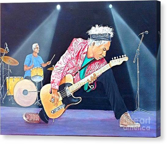 Keith Richards With Charlie Watts Canvas Print