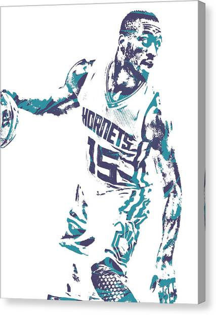 Hornet Canvas Print - Kemba Walker Charlotte Hornets Pixel Art 20 by Joe Hamilton