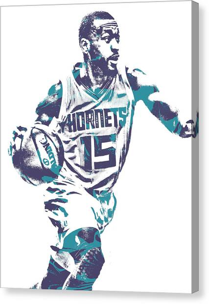 Hornet Canvas Print - Kemba Walker Charlotte Hornets Pixel Art 23 by Joe Hamilton