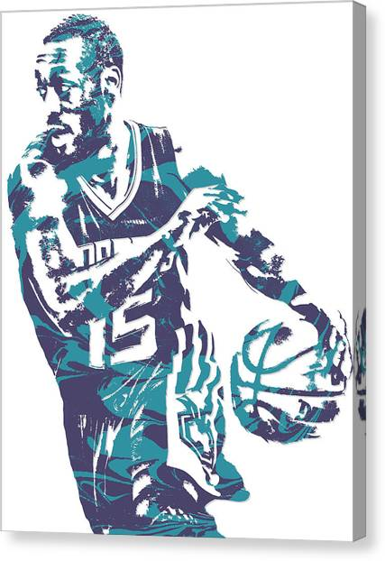 Hornet Canvas Print - Kemba Walker Charlotte Hornets Pixel Art 6 by Joe Hamilton
