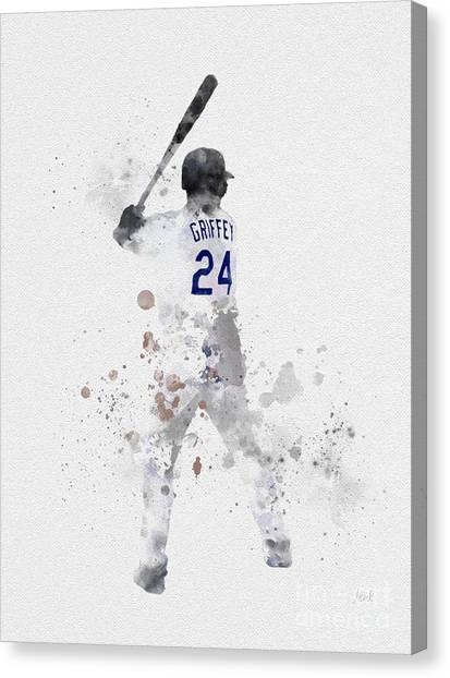 Seattle Mariners Canvas Print - Ken Griffey Jr by Rebecca Jenkins