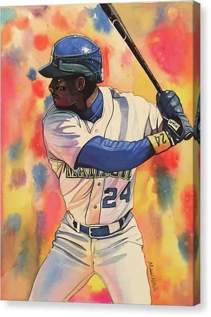 Seattle Mariners Canvas Print - Ken Griffey Jr. Seattle Mariners by Michael Pattison
