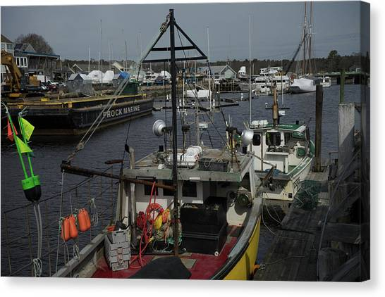 Canvas Print featuring the photograph Kennebunkport Harbor In Early Winter by Samuel M Purvis III