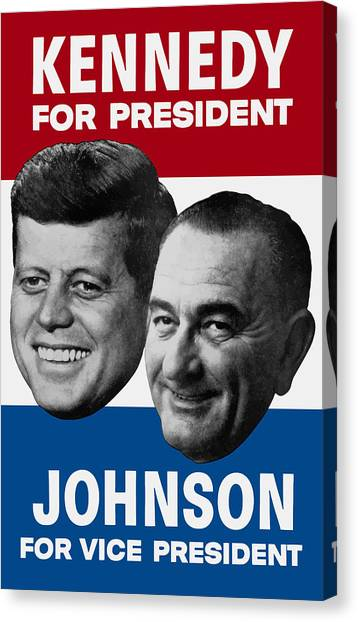Democratic Presidents Canvas Print - Kennedy And Johnson 1960 Election Poster by War Is Hell Store