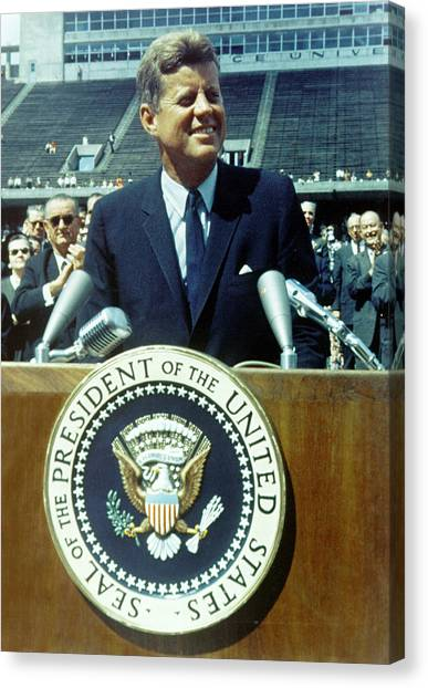 Kennedy At Rice University Canvas Print