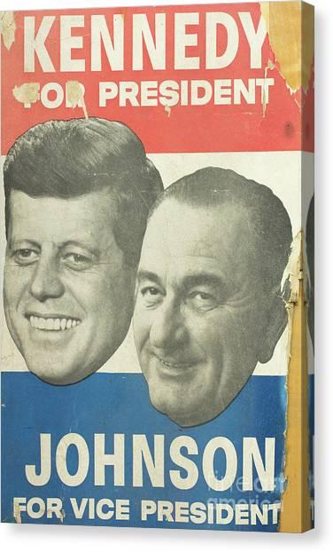 Lyndon Johnson Canvas Print - Kennedy For President Johnson For Vice President by Edward Fielding