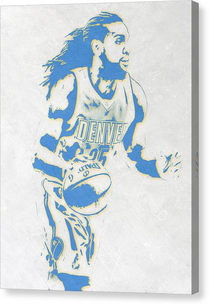 Denver Nuggets Canvas Print - Kenneth Faried Denver Nuggets Pixel Art by Joe Hamilton