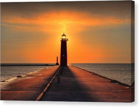 Kenosha Lighthouse Shining Light Canvas Print
