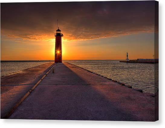 Kenosha Lighthouse Sunrise Canvas Print