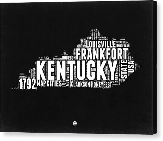 Kentucky Canvas Print - Kentucky Black And White Word Cloud Map by Naxart Studio