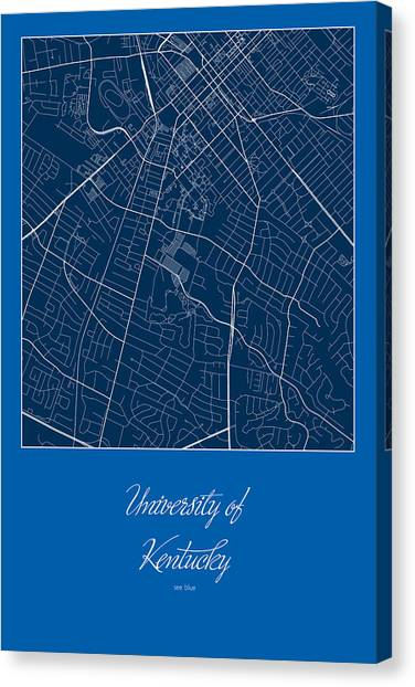 University Of Kentucky Canvas Print - Kentucky Street Map - University Of Kentucky In Lexington Map by Jurq Studio