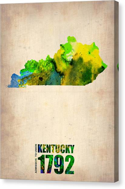 Kentucky Canvas Print - Kentucky Watercolor Map by Naxart Studio
