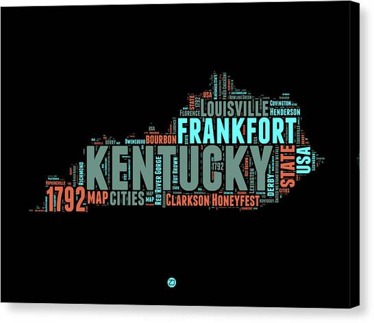 Kentucky Canvas Print - Kentucky Word Cloud Map 1 by Naxart Studio