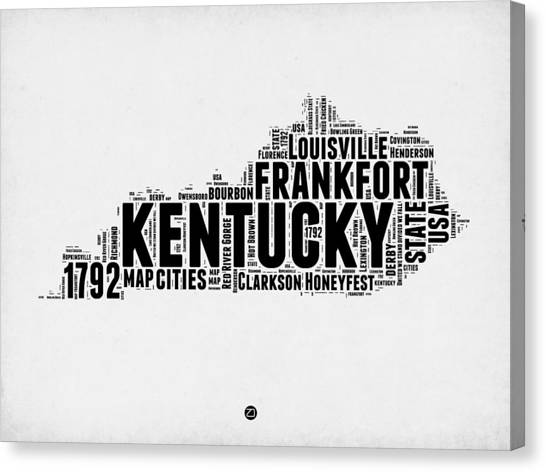 Kentucky Canvas Print - Kentucky Word Cloud Map 2 by Naxart Studio