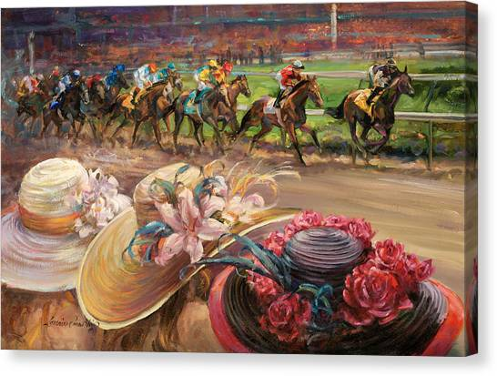 Kentucky Derby Canvas Print - Kentucy Derby Ladies by Laurie Hein