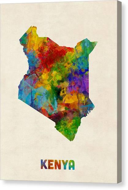 Kenyan Canvas Print - Kenya Watercolor Map by Michael Tompsett