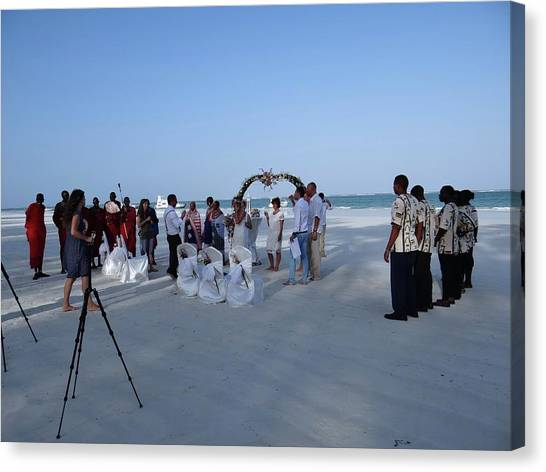 Exploramum Canvas Print - Kenya Wedding On Beach 2 With Maasai by Exploramum Exploramum