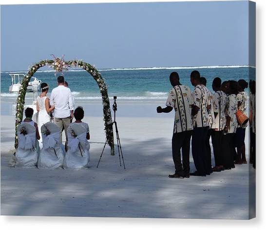Exploramum Canvas Print - Kenya Wedding On Beach Happy Couple by Exploramum Exploramum