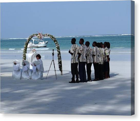 Exploramum Canvas Print - Kenya Wedding On Beach Singers by Exploramum Exploramum