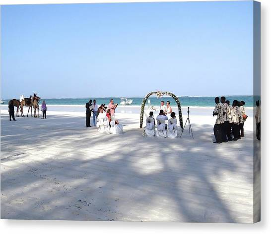Exploramum Canvas Print - Kenya Wedding On Beach Wide Scene by Exploramum Exploramum