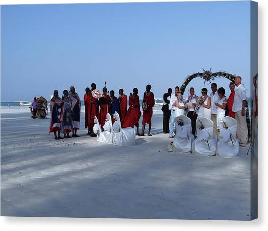 Exploramum Canvas Print - Kenya Wedding On Beach With Maasai by Exploramum Exploramum