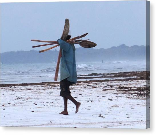 Education By Traveling Canvas Print - Kenyan Fisherman And Oars by Exploramum Exploramum