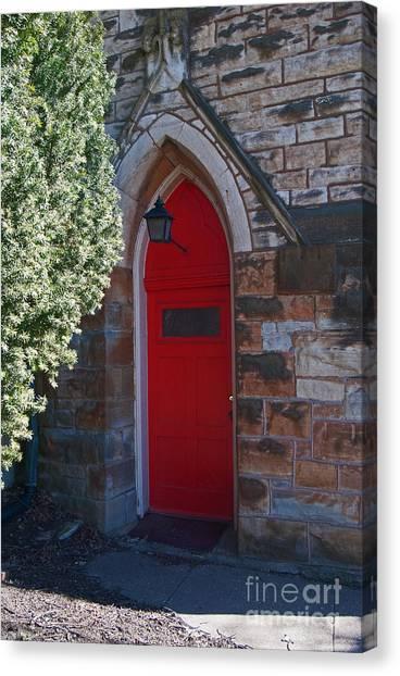 Red Church Door Canvas Print