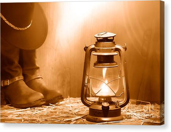 Cowboy Boots Canvas Print - Kerosene Lamp At The Ranch - Sepia by Olivier Le Queinec