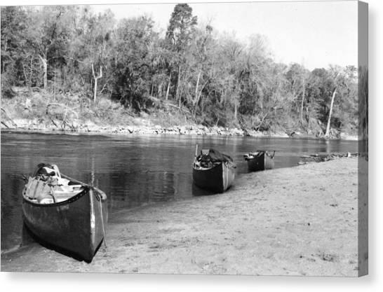 Kerr Lake Canoes Canvas Print by Steven Crown