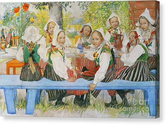 Happy Birthday Canvas Print - Kersti's Birthday by Carl Larsson
